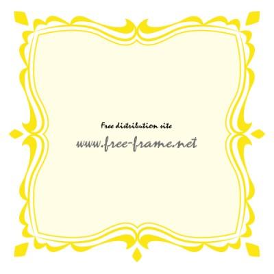 黄色の可愛らしい四角フレーム・枠