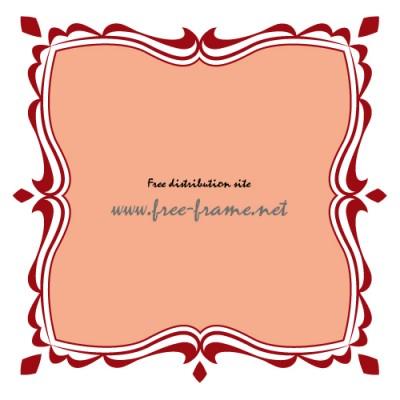 赤色の可愛らしい四角フレーム・枠
