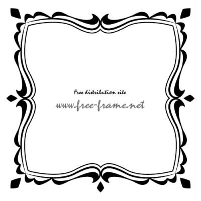 黒色の可愛らしい四角フレーム・枠