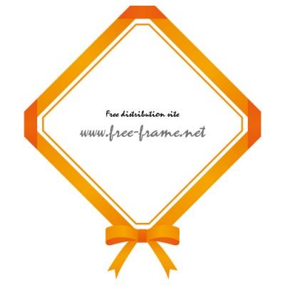 オレンジ色のリボンの四角フレーム・枠