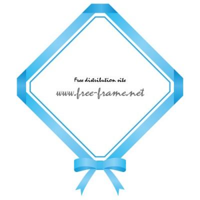 青色のリボンの四角フレーム・枠