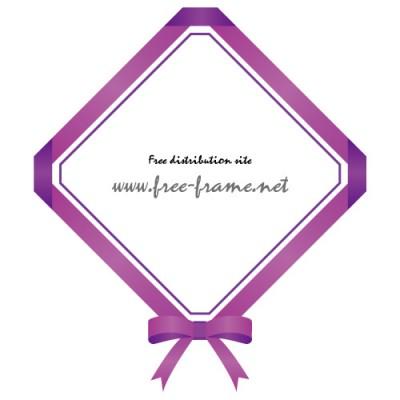紫色のリボンの四角フレーム・枠