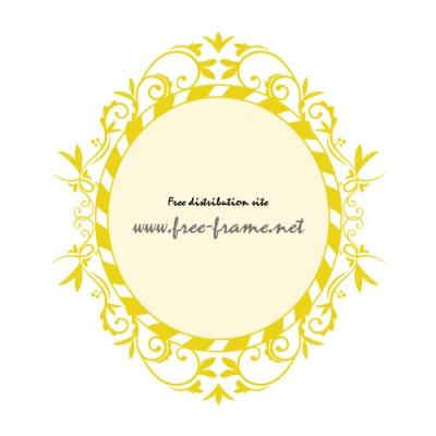 黄色の蔦のイラストオーバルフレーム・枠