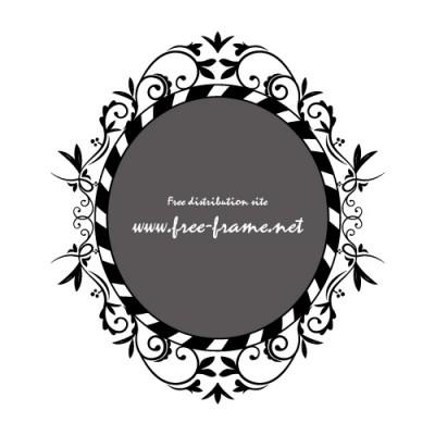 黒色の蔦のイラストオーバルフレーム・枠