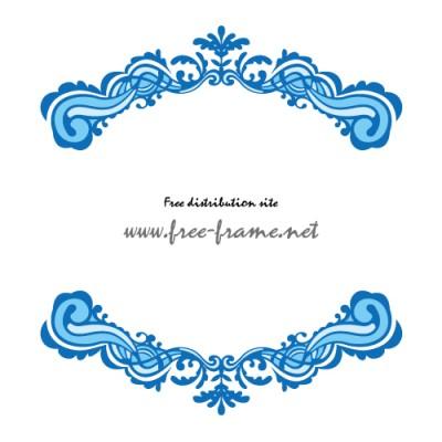 ブルー配色の欧風イメージ上下フレーム・枠