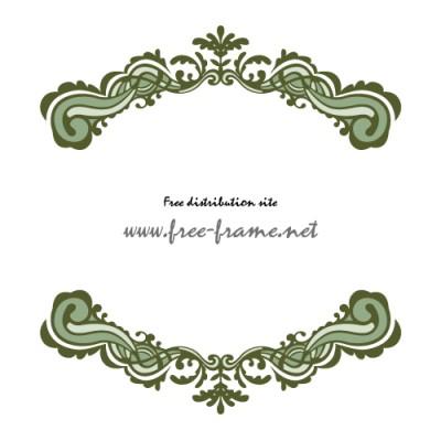 グリーン配色の欧風イメージ上下フレーム・枠