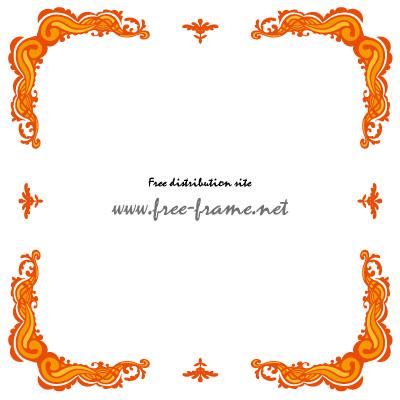 オレンジ色のクラシカルな四隅フレーム・枠