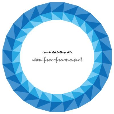 青色の三角形が並ぶ円形フレーム・枠