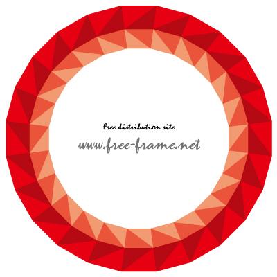 赤色の三角形が並ぶ円形フレーム・枠