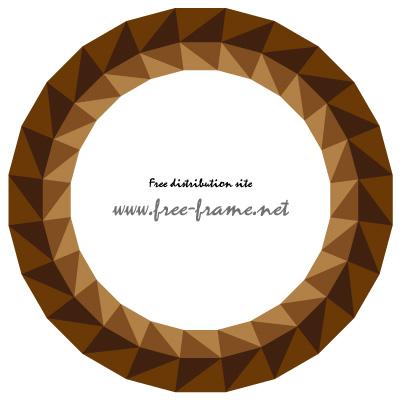 茶色の三角形が並ぶ円形フレーム・枠