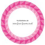 ピンク色の三角形が並ぶ円形フレーム・枠