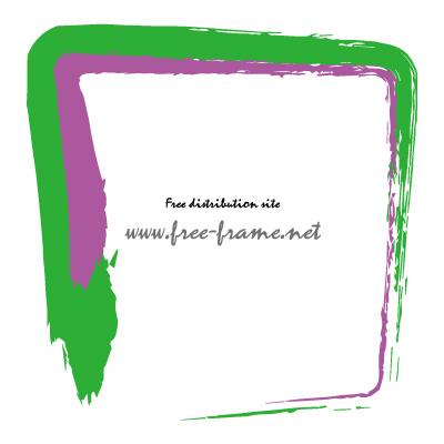 緑色と紫色の毛筆 四角形フレーム・枠