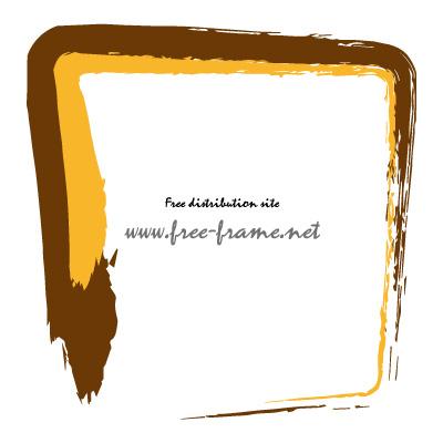 茶色とオレンジ色の毛筆 四角形フレーム・枠