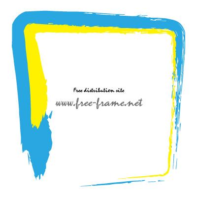 水色と黄色の毛筆 四角形フレーム・枠