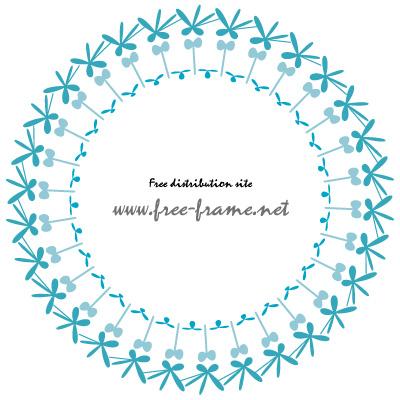 青色の植物のイラストのような円形フレーム・枠