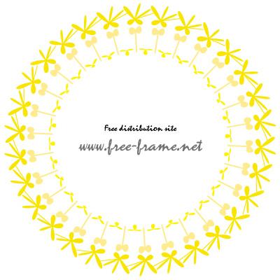 黄色のポップな円形フレーム・枠