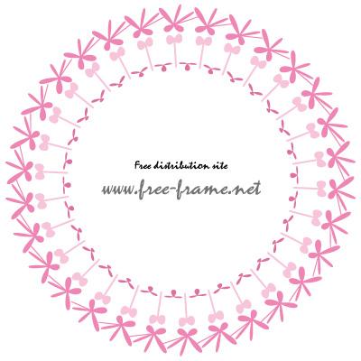 ピンク色のポップな円形フレーム・枠