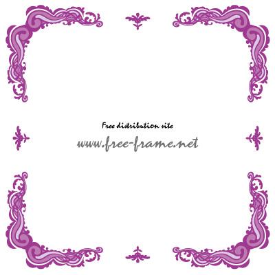 紫色のクラシカルな四隅フレーム・枠