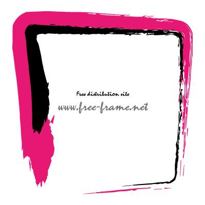 ピンク色と黒色の毛筆 四角形フレーム・枠