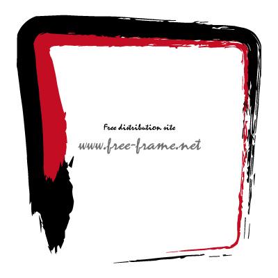黒色と赤色の毛筆 四角形フレーム・枠