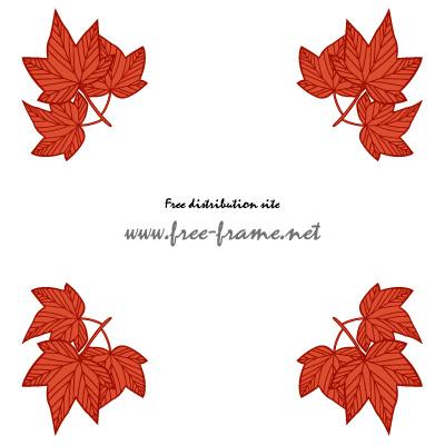 赤い楓の葉っぱイラストの四隅フレーム・枠