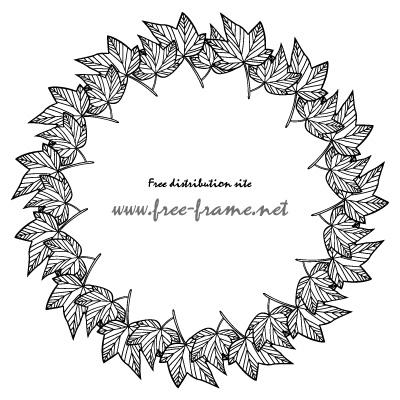 白黒の楓の葉っぱイラストの円形フレーム・枠