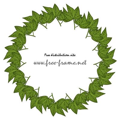 緑色の楓の葉っぱイラストの円形フレーム・枠