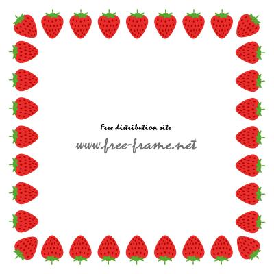 苺のイラストの四角形フレーム・枠