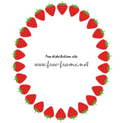 苺のイラストの楕円フレーム・枠