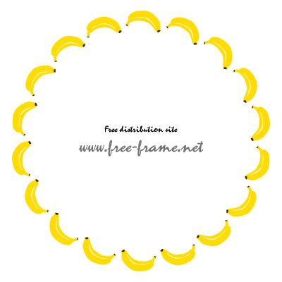 バナナのイラストの円形フレーム・枠