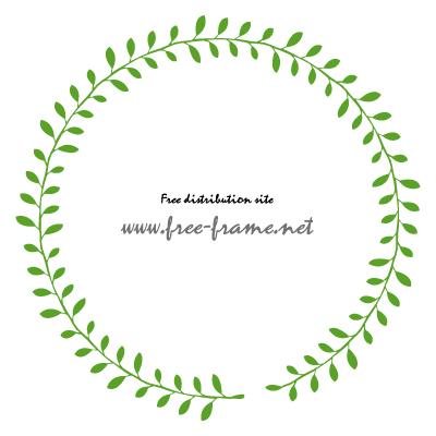 葉っぱのイラストの円形フレーム・枠