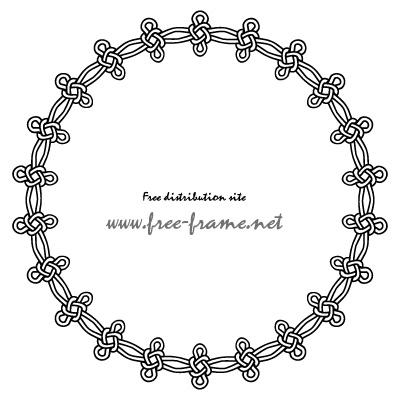 連続した結び目イラストの円形フレーム・枠