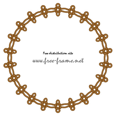 茶色い連続した結び目イラストの円形フレーム・枠