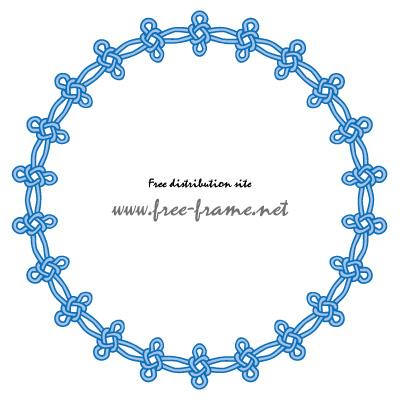 青い連続した結び目イラストの円形フレーム・枠