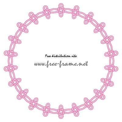 ピンク色の連続した結び目イラスト円形フレーム・枠