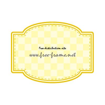 四角と円を組み合わせた黄色のラベルフレーム・枠