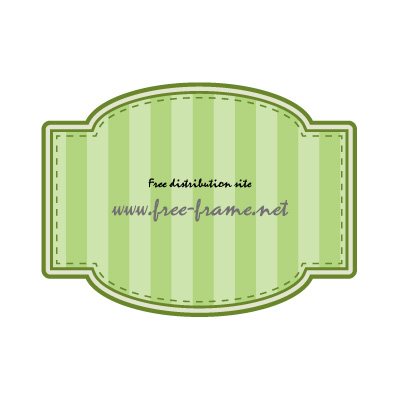 四角と円を組み合わせた緑色のラベルフレーム・枠