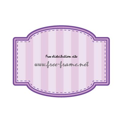 四角と円を組み合わせた紫色のラベルフレーム・枠