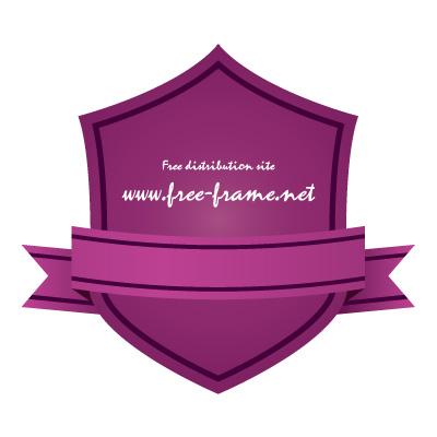 紫色のリボン付きシールド形ラベルフレーム・枠