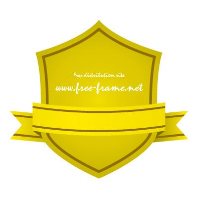 黄色のリボン付きシールド形ラベルフレーム・枠