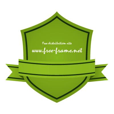 緑色のリボン付きシールド形ラベルフレーム・枠