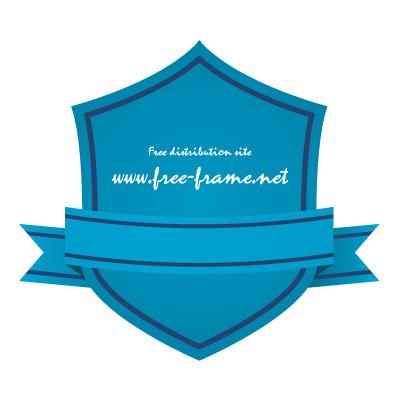 青色のリボン付きシールド形ラベルフレーム・枠