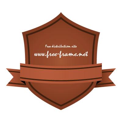 茶色のリボン付きシールド形ラベルフレーム・枠