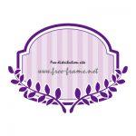 紫色の蔦のイラスト付きラベルフレーム・枠