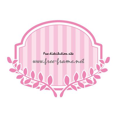 ピンク色の蔦のイラスト付きラベルフレーム・枠