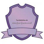 紫色のシールドとリボンのラベルフレーム・枠