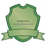 緑色のシールドとリボンのラベルフレーム・枠