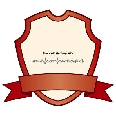 赤色のシールドとリボンのラベルフレーム・枠