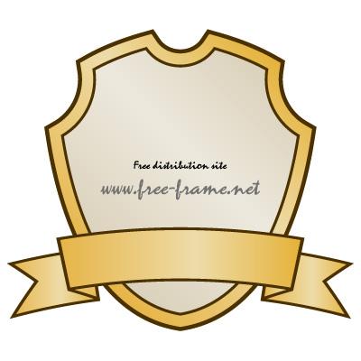 金色のシールドとリボンのラベルフレーム・枠
