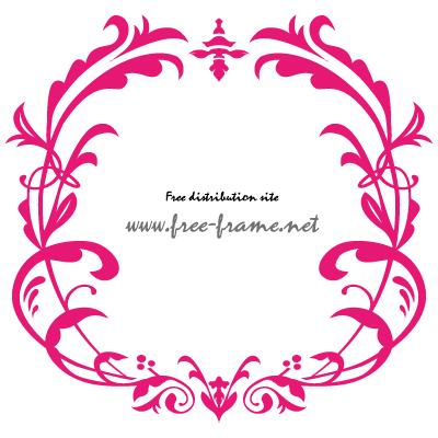 ピンク色のダマスク調スクウェアフレーム・枠